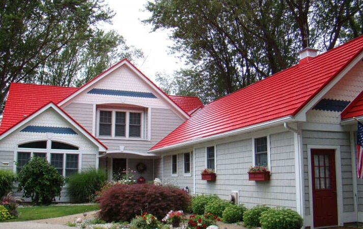 Rustic Shingle Metal Roof - Red
